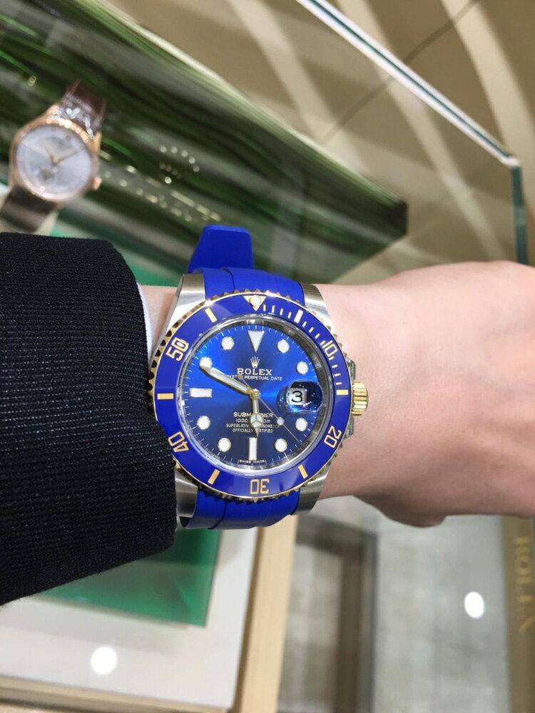 ROLEX 勞力士RUBBER Bxae潛航者 Submariner 錶帶 - 唐扣系列  M106DC 太平洋藍膠錶帶