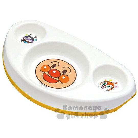 〔小禮堂嬰幼館〕麵包超人 塑膠餐盤《白.朋友.大臉.三格.三角》止滑設計