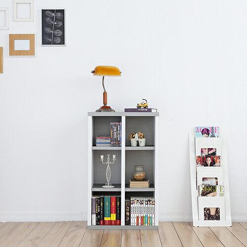 《Accessco》日系雙色六格厚板收納書櫃 [亮銀白]