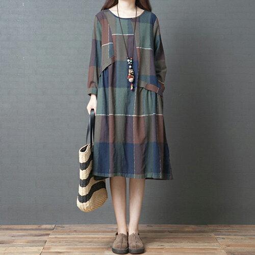 *ORead*格子純棉長款連身裙(3色M~2XL) 2