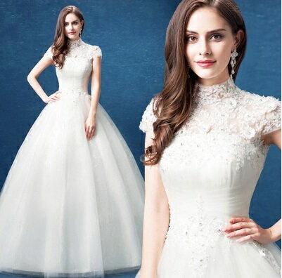天使嫁衣【AE3267】復古風蕾絲立領包肩短袖挖背齊地婚紗˙預購訂製款