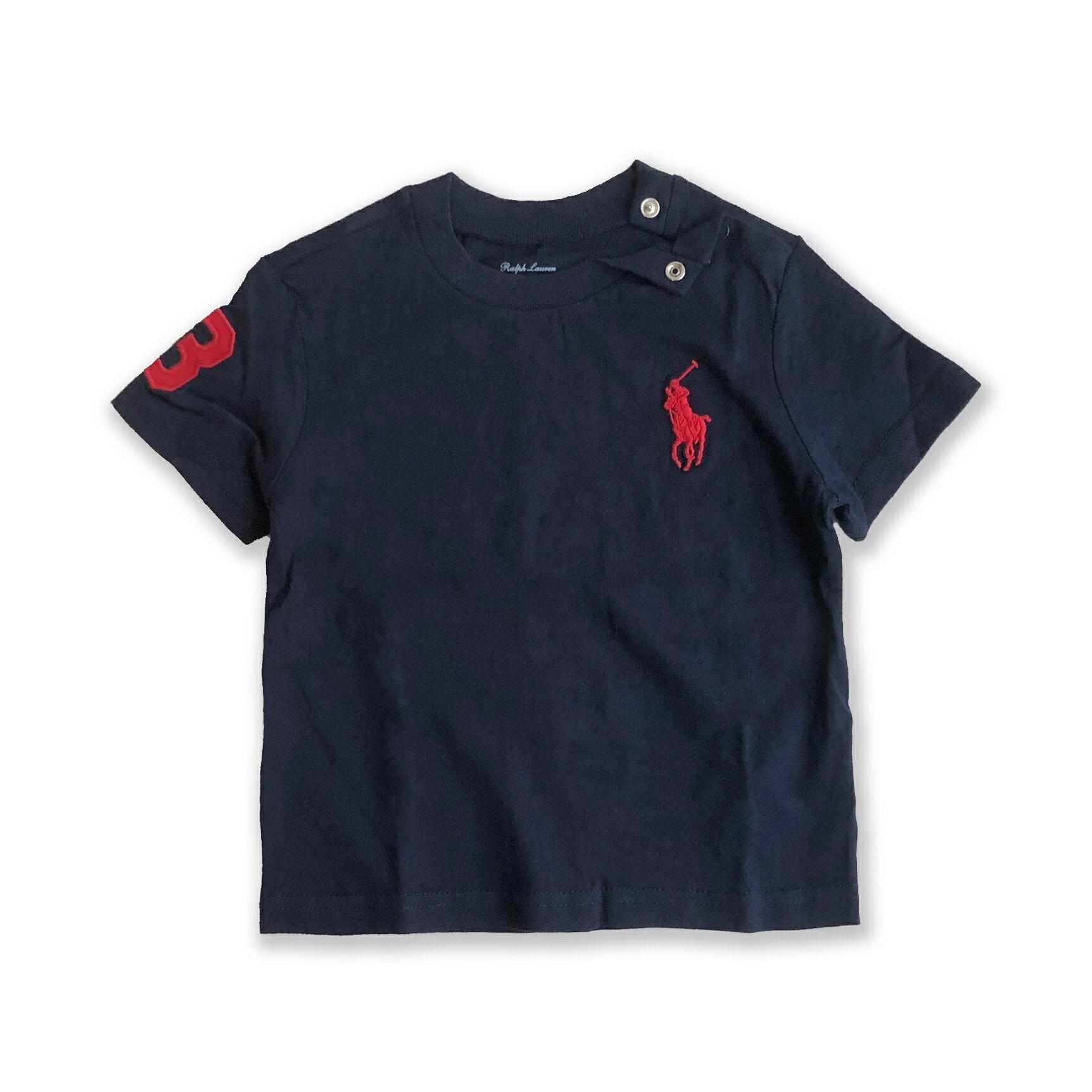 美國百分百【Ralph Lauren】嬰兒 童裝 短袖上衣 RL大馬 T-shirt T恤 男寶女寶 12M 現貨 深藍