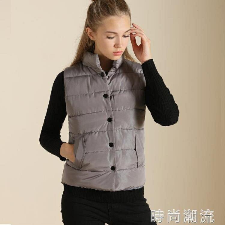 春秋女士棉背心 韓版短款高領保暖外穿羽絨棉服保暖馬甲  時尚潮流