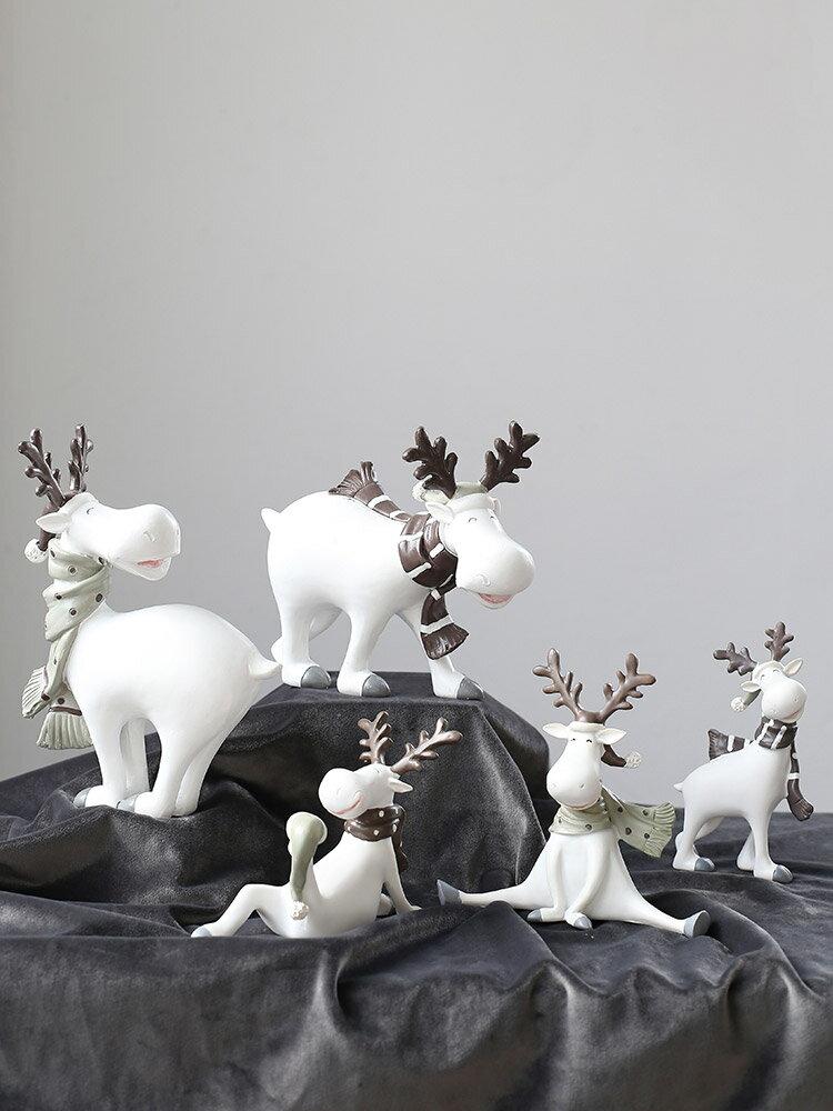 北歐奶茶咖啡服裝店麋鹿裝飾小飾品辦公室擺件創意可愛工藝品擺設SGBS3 愛尚優品