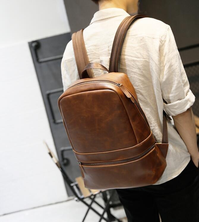 FINDSENSE Z1 韓國 時尚 潮 男 皮質 咖啡色 學生包 書包 電腦包 旅行包 後背包 雙肩包