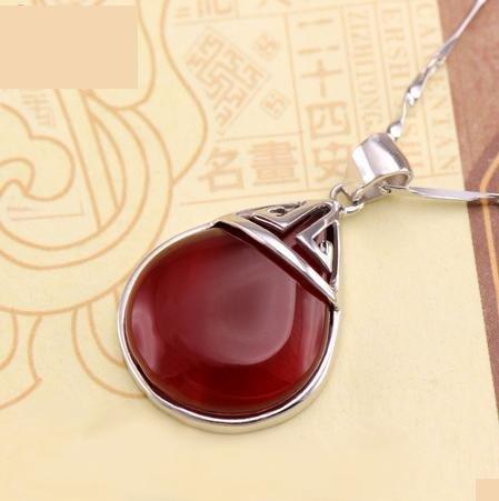 銀紅妝手鏈 紅妝項鏈 二件套 紅瑪瑙古典禮物