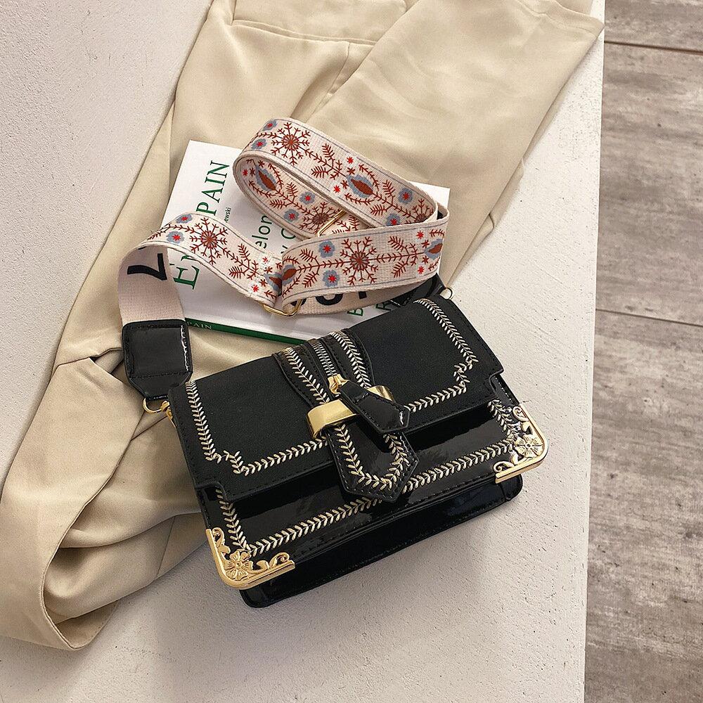 上新小包包洋氣女包新款2019潮時尚簡約單肩包森系復古寬帶斜挎包