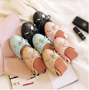 Pyf♥優雅菱格紋鉚釘裝飾圓頭軟底蛋捲鞋工作鞋孕婦鞋平底鞋45大尺碼女鞋