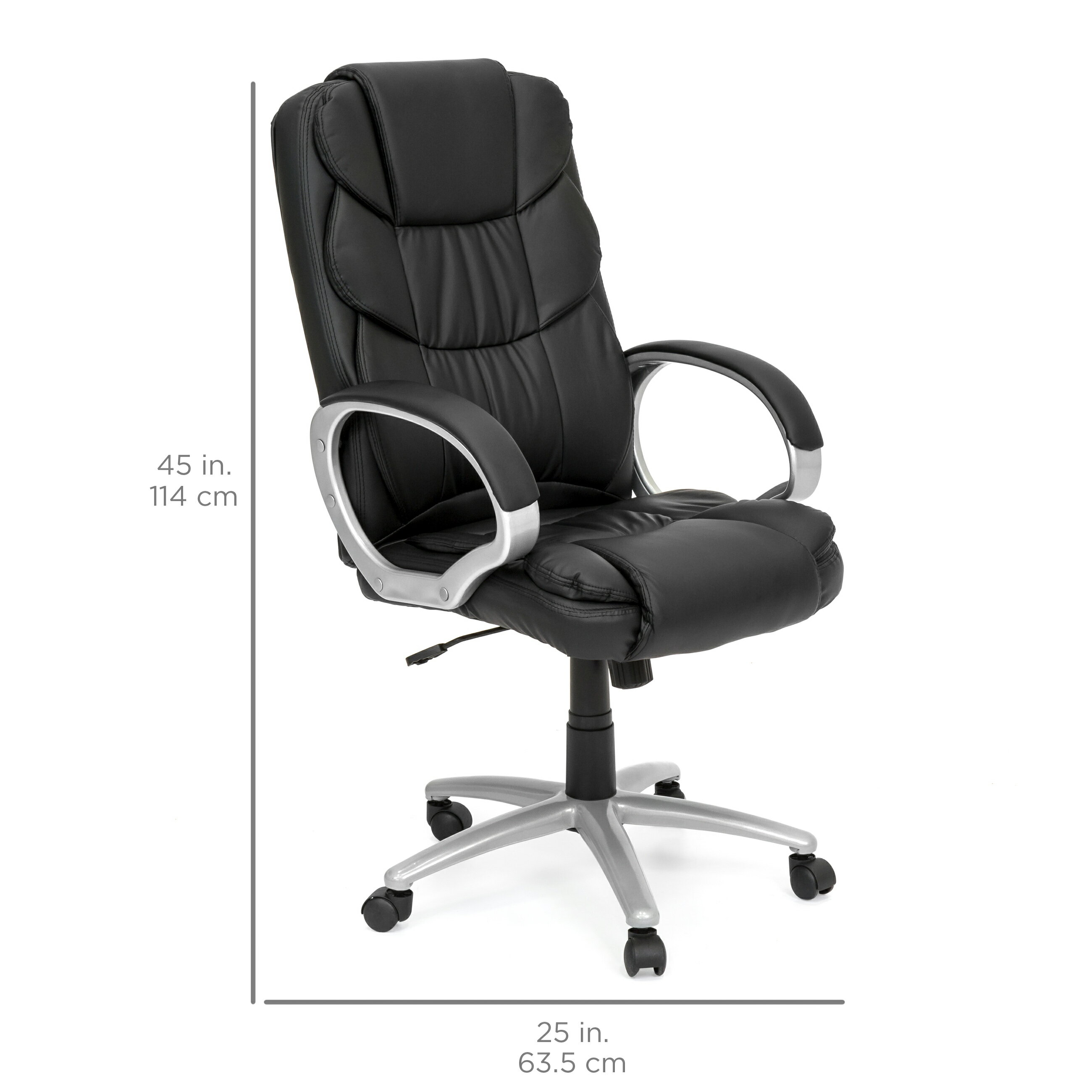 Best Choice Products Ergonomic PU Leather High Back Office Chair, Black 4