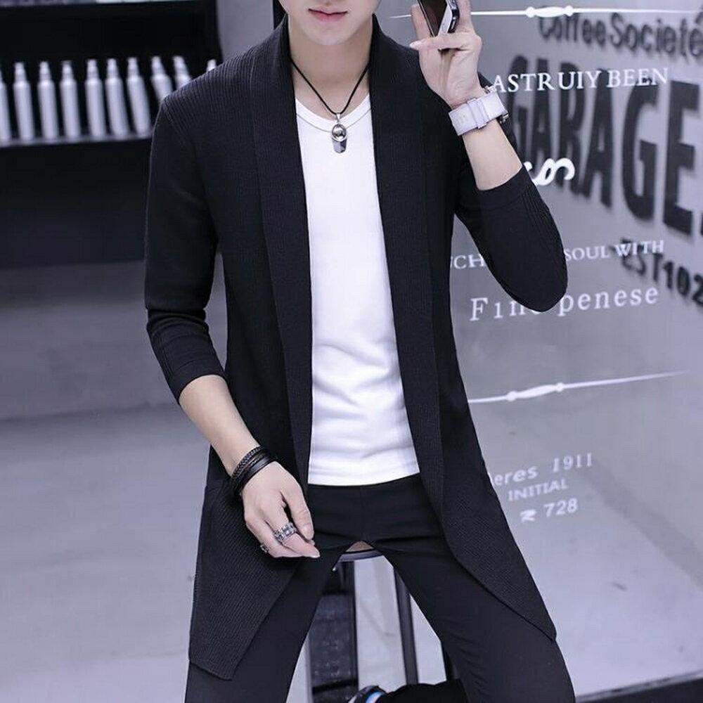 針織外套 新款男士風衣中長款韓版學生修身帥氣披風春秋季外套針織大衣