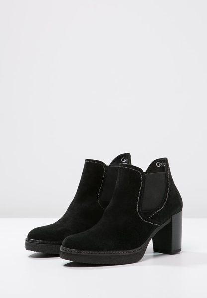 Gabor 縫紋交露踝時尚跟靴 黑 粗跟│中跟│寬楦│皮革 4