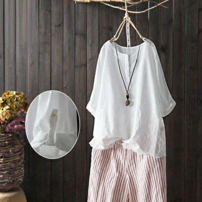 七分袖T恤打底衫-簡約純色刺繡優雅女上衣73sj72【獨家進口】【米蘭精品】