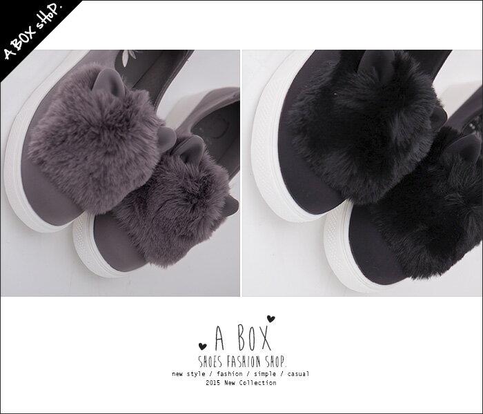 格子舖*【AA355】日韓系嚴選 超卡哇伊保暖絨毛貓耳朵造型 時尚太空綿3CM包鞋 懶人鞋 2色 2