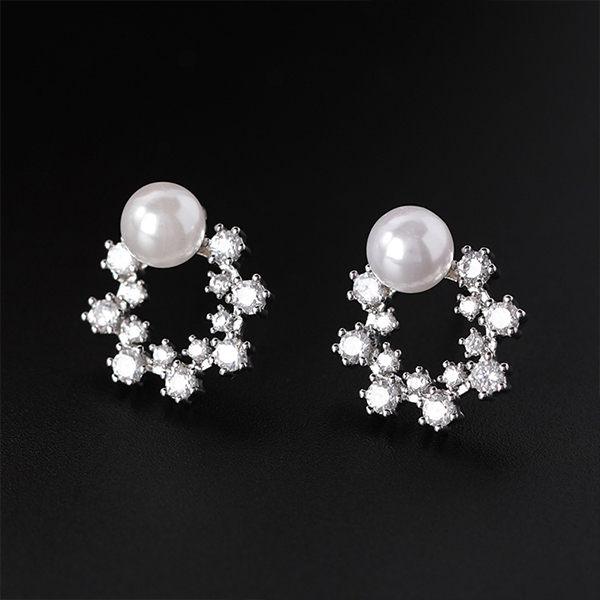 PS Mall 韓版甜美珍珠氣質圓圈幾何耳環【G047】 1