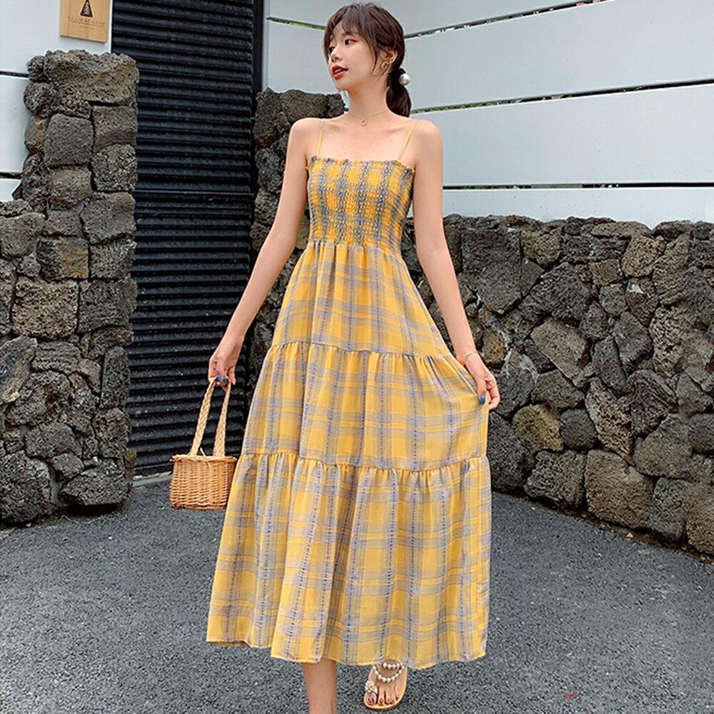格子吊帶連身裙洋裝(黃色S~XL)*ORead* - 限時優惠好康折扣
