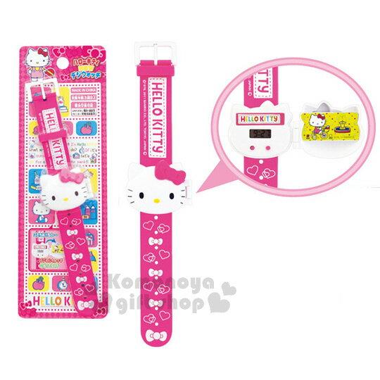 〔小禮堂〕Hello Kitty 兒童電子錶《粉.愛心.蝴蝶結.泡殼》大臉造型蓋