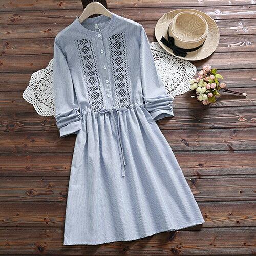 *ORead*森女風條紋刺繡繫帶收腰連身裙(2色S~2XL) 1