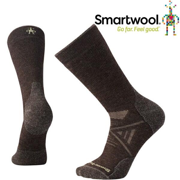Smartwool羊毛襪排汗襪保暖襪子美麗諾羊毛男款PhD中量級中長襪SW001071207栗子棕