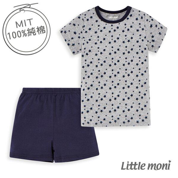 Littlemoni家居系列短袖套裝(兩件組)-深藍