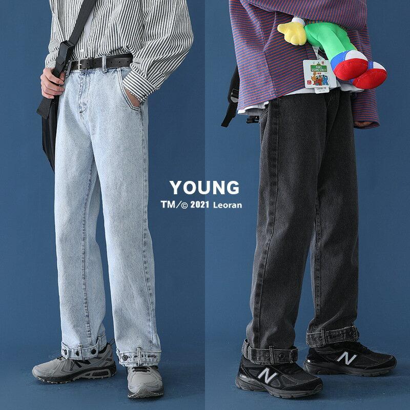 牛仔褲男直筒寬鬆2021春秋新款個性牛仔褲男闊腿老爹褲潮流男女褲