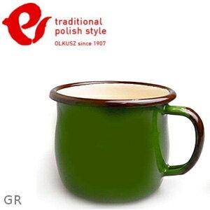 Emalia Olkusz 波蘭百年琺瑯杯/牛奶杯/琺瑯馬克杯350ml TPS 綠色 GR