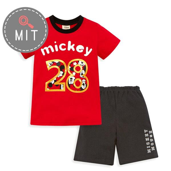 Disney米奇系列俏皮數字上衣短褲套裝-紅色