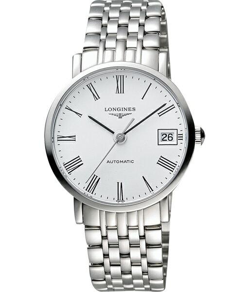 LONGINES L48104116優雅系列羅馬機械腕錶/白面37mm