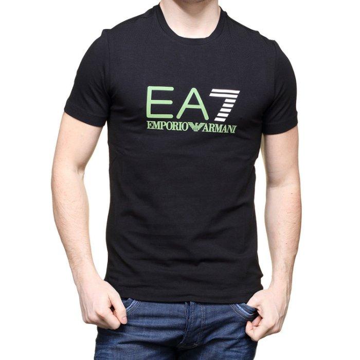 美國百分百【全新真品】Emporio Armani 短袖T恤 EA7 logo 運動 T-shirt 黑 XS H829
