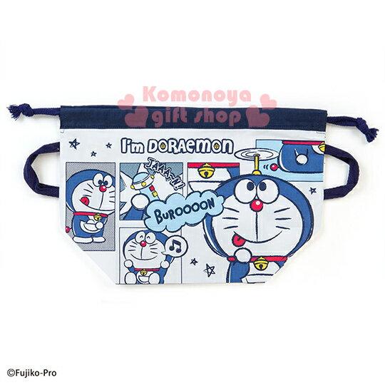 〔小禮堂〕哆啦A夢 日製便當型束口提袋《藍.漫畫.星星》I\