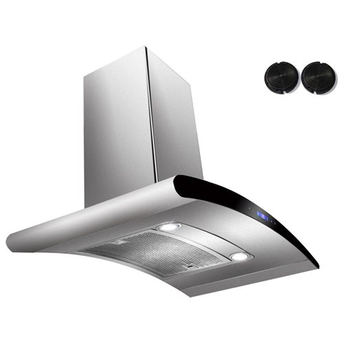 "AKDY 30"" AK-198KN3-30CF Stainless Steel Wall Range Hood Carbon Filter Included For Ventless/Ductless Options 0"