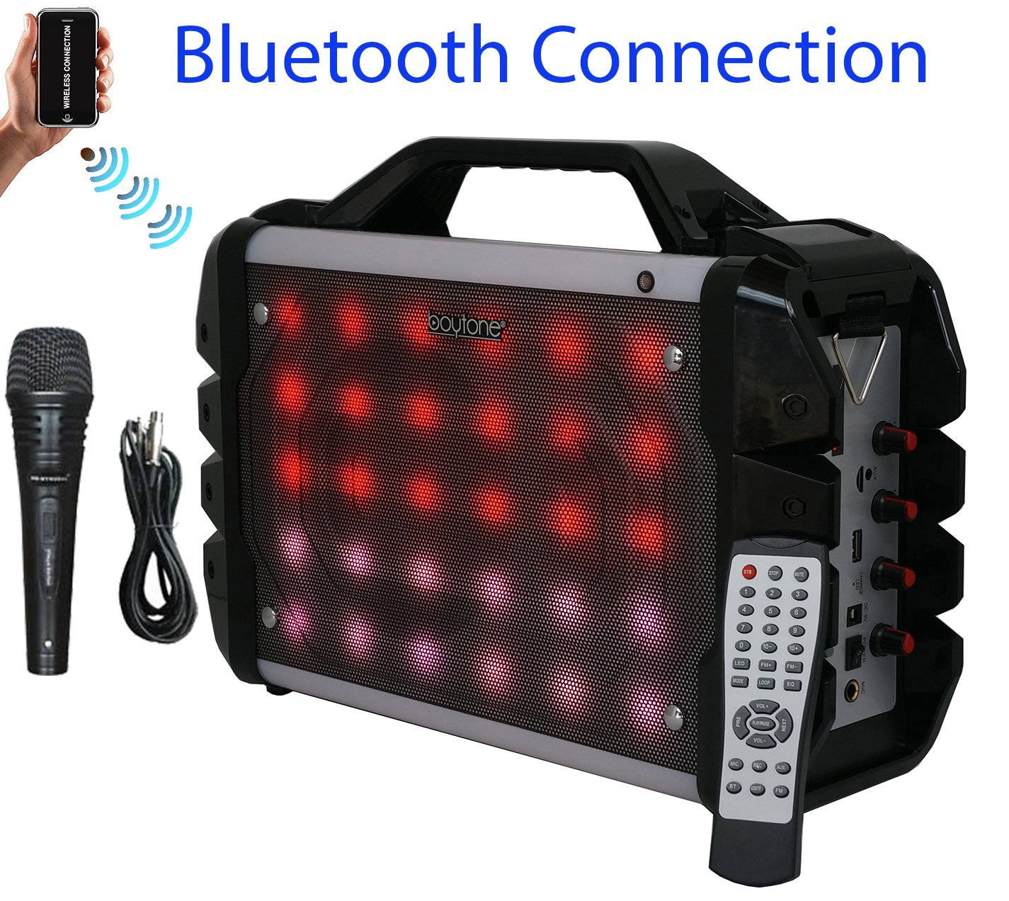 Boytone BT-52M Portable Audio karaoke Bluetooth PA Speaker System with  Microphone, FM Radio, USB Port | MP3| AUX ports, built in rechargeable  Battery