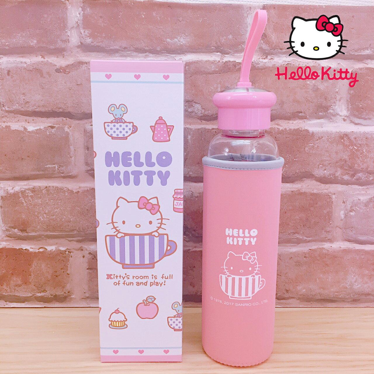 【真愛日本】17071400023 晶透耐熱玻璃瓶附布套-KT粉 三麗鷗 Hello Kitty 凱蒂貓 水瓶 水壺