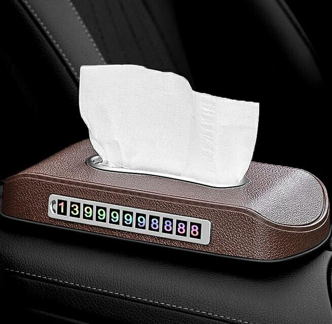 車載面紙盒 二合一車載紙巾盒停車號碼牌紙巾盒座式抽紙盒儀表臺車載用品