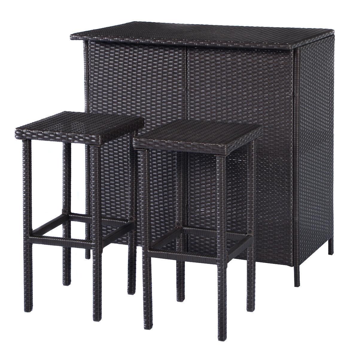 Costway 3PCS Rattan Wicker Bar Set Patio Outdoor Table & 2 Stools Furniture Brown 6