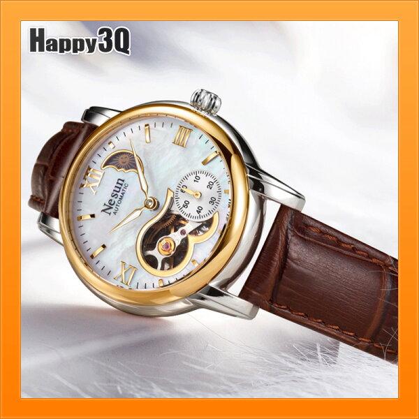 手錶女機械錶時尚潮流鏤空真皮炫彩貝母錶面日月轉換月相-紅棕白藍【AAA4915】