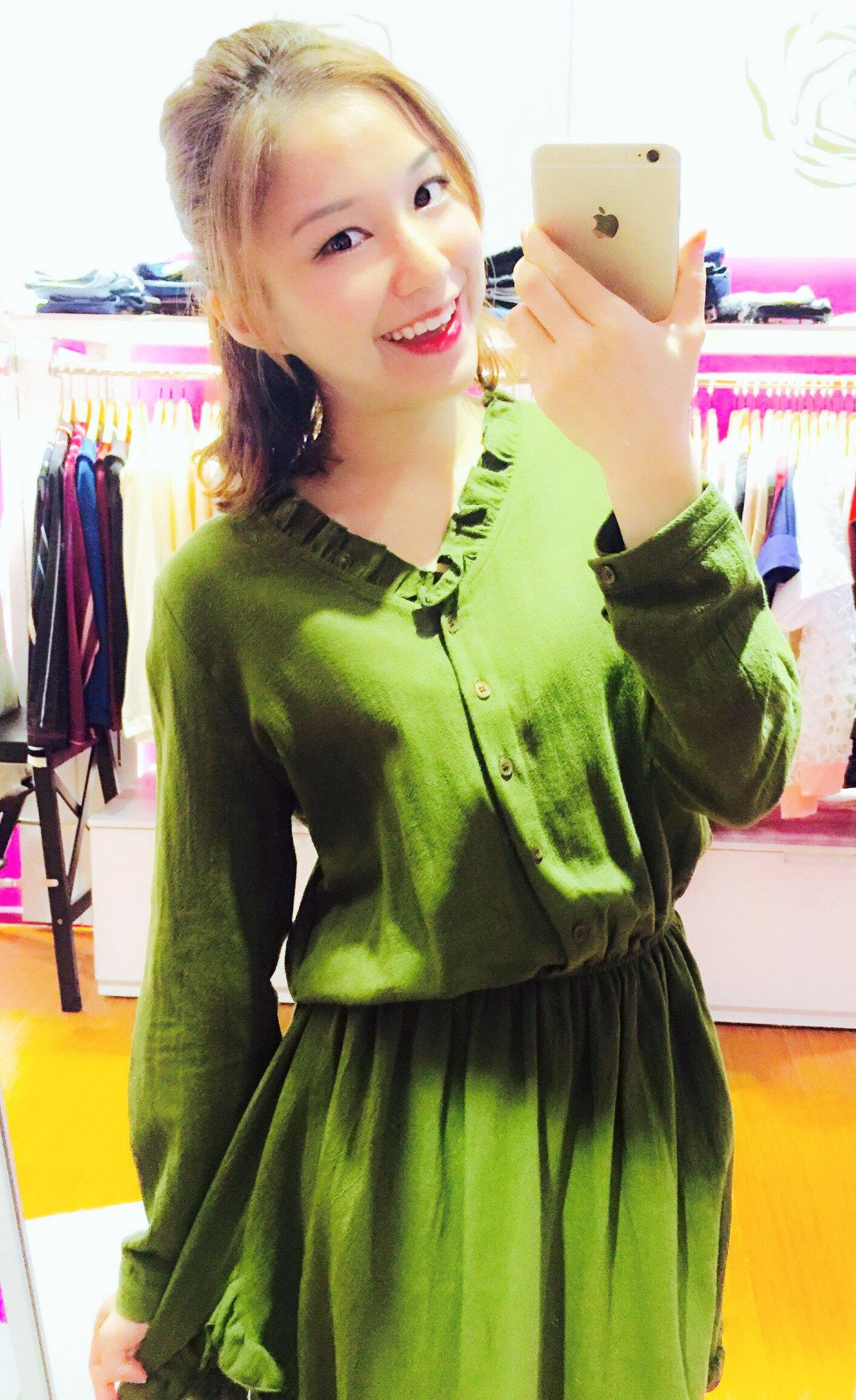 [Flower Korea]棉質荷葉氣質洋裝[2色]