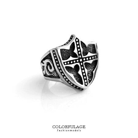 戒指 復古盾牌十字架造型食指環寬版戒 鋼製材質 刻紋圖騰 大SIZE盾牌 柒彩年代【NC188】厚實感