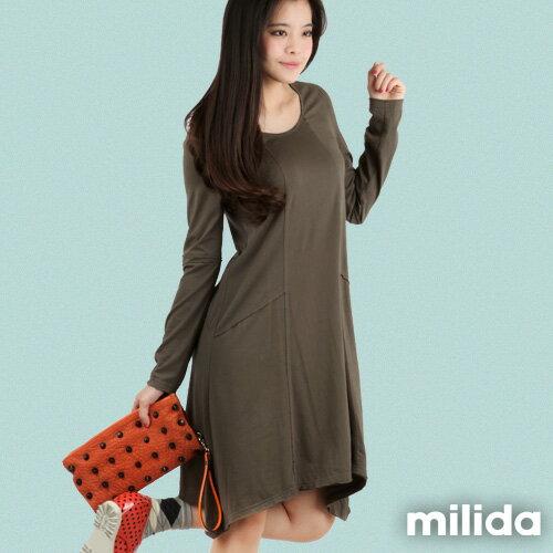 【Milida,全店七折免運】-秋冬單品-洋裝款-長版休閒風 3