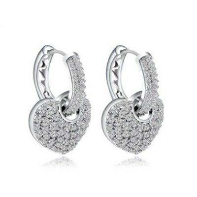 ~純銀耳環鍍白金鑲鑽耳飾~ 奢華 愛心七夕情人節生日 女飾品73cr269~ ~~米蘭 ~