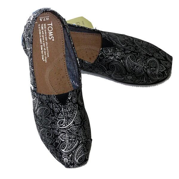 TOMS#10003270黑銀緹花緞布休閒鞋-淑女款