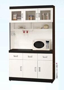 【石川家居】GH-A68耐磨黑白配4尺餐櫃(不含其他商品)台中以北搭配車趟免運費