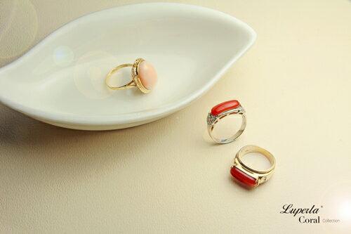 大東山珠寶 典藏 頂級深紅阿卡珊瑚真鑽14K白金戒指 3