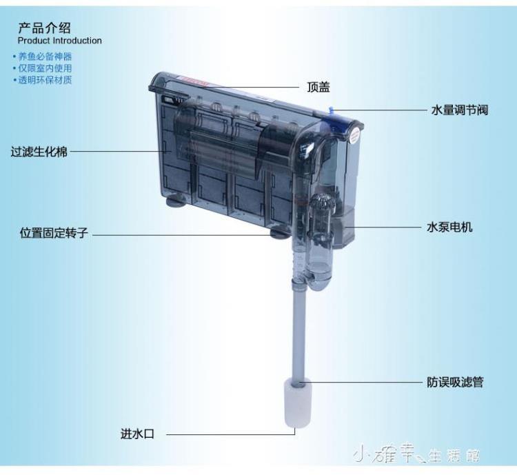 魚缸壁掛式過濾器小型水族箱外掛瀑布過濾器靜音過濾泵