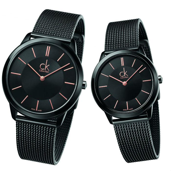 CK 卡文克萊 經典系列(K3M21421+K3M22421)黑金米蘭時尚腕錶 / 黑面40+35mm - 限時優惠好康折扣