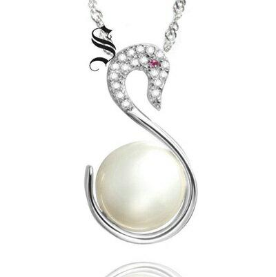 925純銀項鍊 珍珠吊墜~優雅天鵝鑲鑽精美七夕情人節 女飾品73dh4~ ~~米蘭 ~
