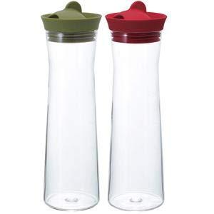 2色日本製造HARIO矽膠玻璃冷水瓶冷水壺-綠色1000ML(HAR-WJ-10)