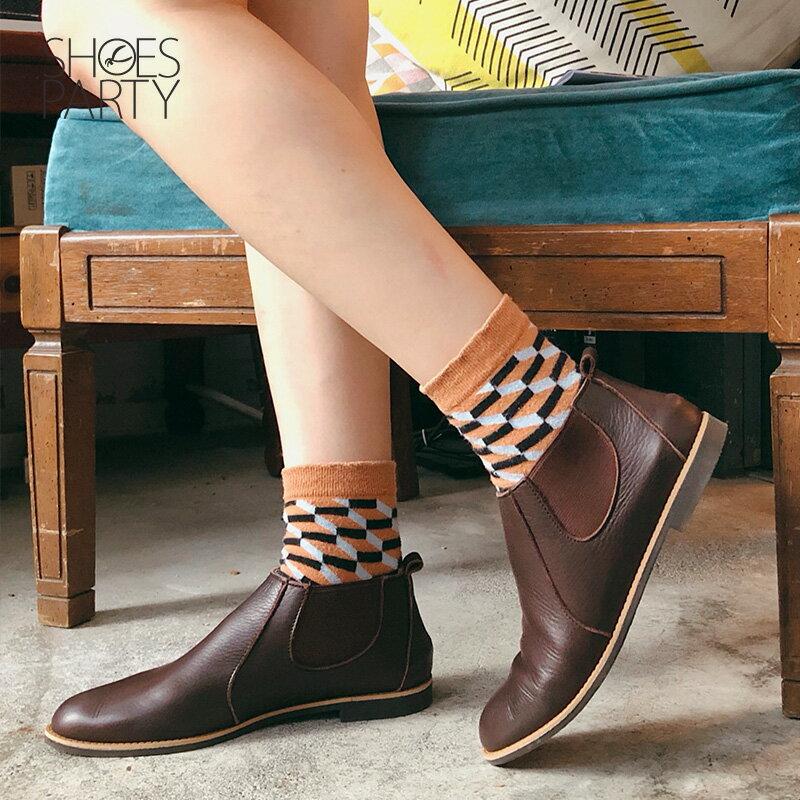 預購【F2-18107L】側鬆緊帶小尖頭真皮短靴-日本製 2