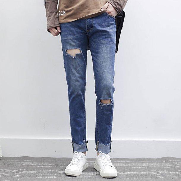 FINDSENSE品牌 2017新款潮流男生 淺藍水洗毛邊 修身破洞時尚個性牛仔褲