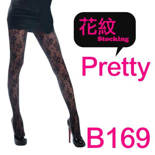 時尚花紋黑色透膚性感絲襪連身褲襪*流行E線B169 0