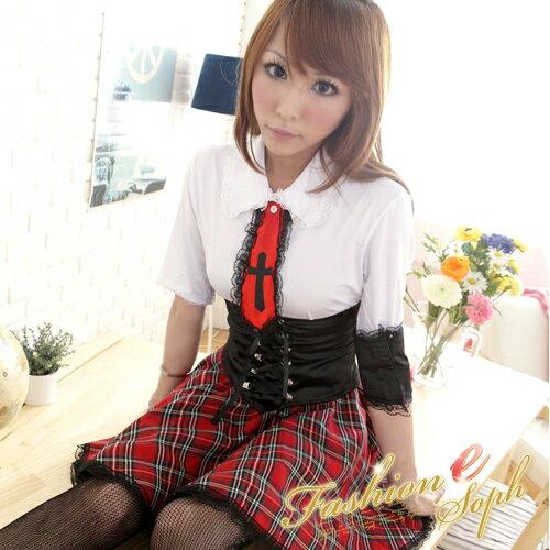 學院風角色扮演服短袖洋裝學生服cosplay服裝*流行E線K095